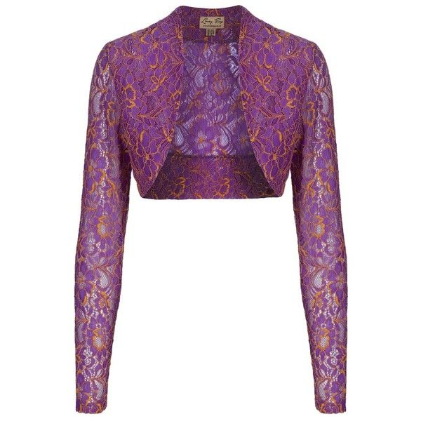 Purple And Yellow Lace Shrug ($7) ❤ liked on Polyvore featuring outerwear, tops, purple, white lace shrug, white shrug, purple shrug, purple lace shrug and white shrug cardigan