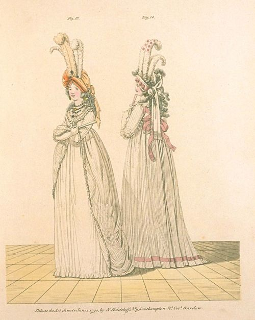 Gallery of Fashion, Figures 13 and 14.  June 1794, Full Dress.