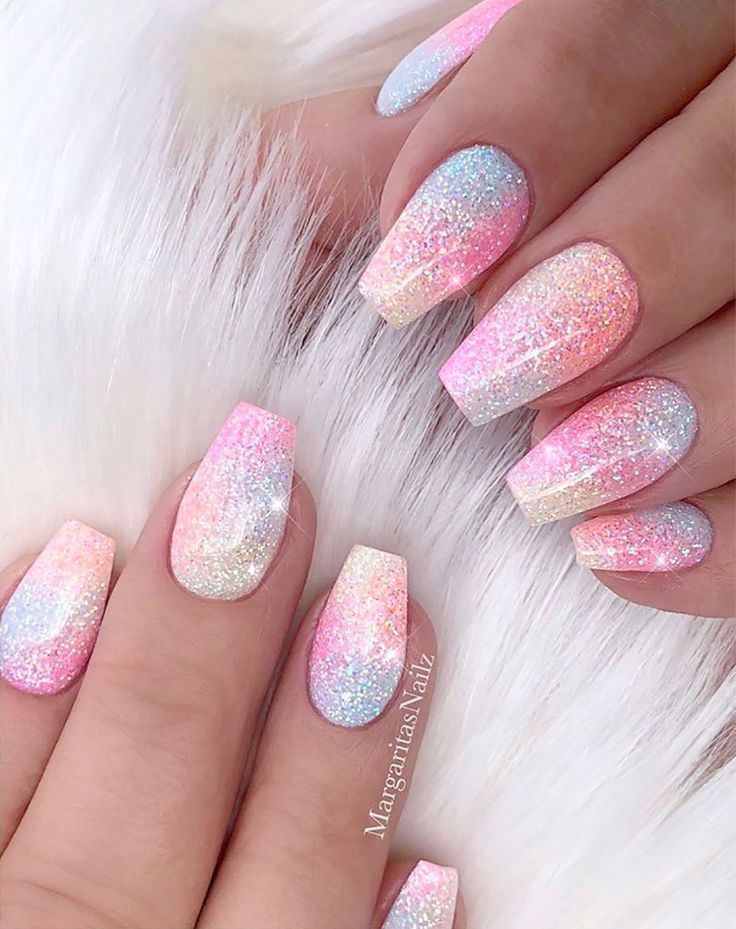 Nail Career Education Brush Versus Light Pink Sparkly Acrylic Nails Opposite Nai Acrylic Bru In 2020 Sparkly Acrylic Nails Unicorn Nail Art Shiny Nails Designs