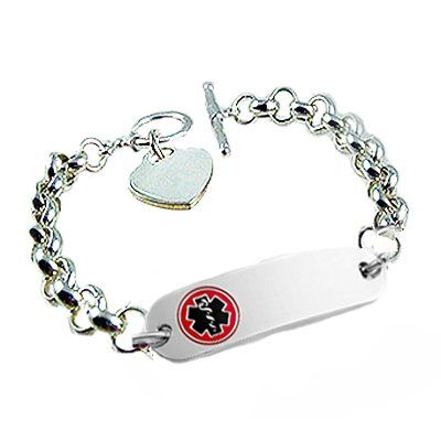 Sterling Silver Engravable Mens & Womens Medical Alert Bracelet 7-8 Inches D5esIOpoi