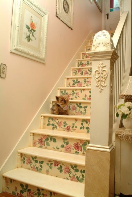 Cottage stairs with floral paper                                                                                                                                                                                 More