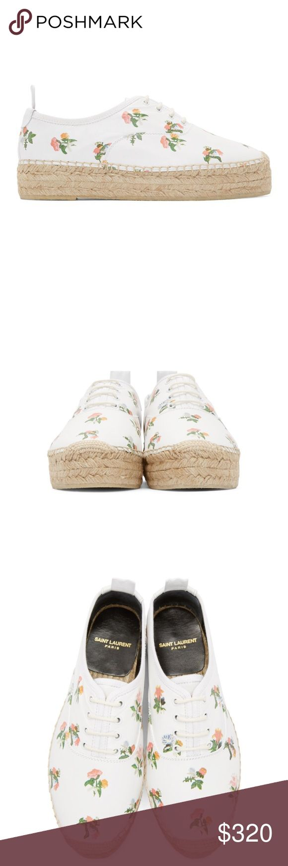 Saint Laurent Espadrille Sneakers Buffed leather espadrilles in white featuring floral pattern throughout in tones of green, pink, orange, yellow, and blue. Tonal grosgrain trim throughout. Woven toe cap in beige. Tonal lace-up closure. Grosgrain pull-tab and logo embossed at heel collar. Blanket stitching at welt. Braided jute midsole in beige. Textured rubber sole in beige. Tonal stitching. Upper: leather. Sole: rubber. Made in Spain. * NEW, UNWORN AND COME WITH BOX. Make an offer. 💕…