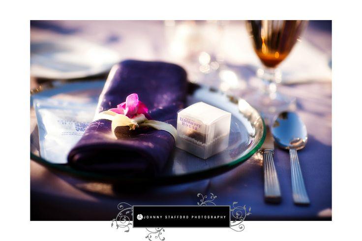 Table setting for a beautiful Garden themed wedding at Chateau du Sureau  #wedding #purple