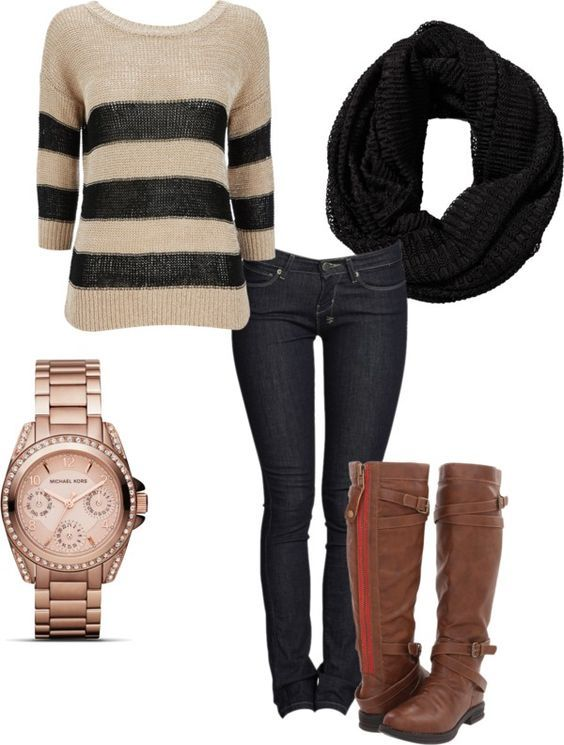 #fall #outfits / Jumper + Black Scarf