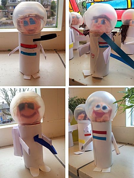 Thema: Zon, Maan en Sterren - Super cute astronauts: lids, toilet rolls, paper and glue...