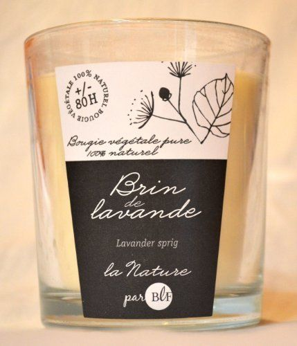 Bougies La Francaise Lavender scented 100 % vegetal wax ivory candle in large glass by Bougies la Francaise. $23.00. Enjoy 80 hours of Lavender scent. 100% vegetal wax. This scented candle from Bougies La Francaise is made from 100% vegetal wax and will bring 80 hours of Lavender fragrance to your home sweet home.