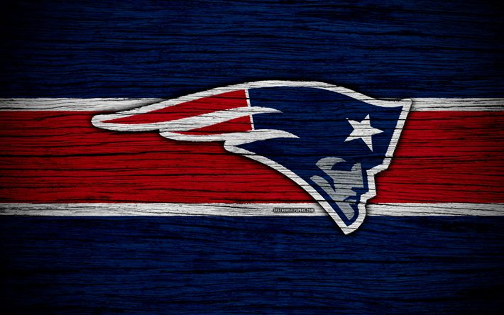 Download wallpapers New England Patriots, NFL, American Conference, 4k, wooden texture, American football, logo, emblem, New England, USA, National Football League