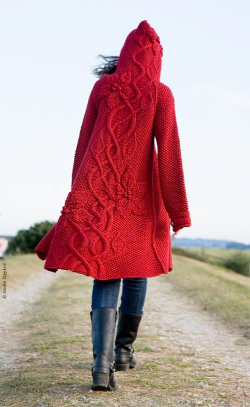 Ok, this... i love.Red Sweaters, Little Red, Knits Pattern, Red Riding Hoods, Sweaters Coats, Sweaters Pattern, Red Coats, Knits Sweaters, Knits Projects