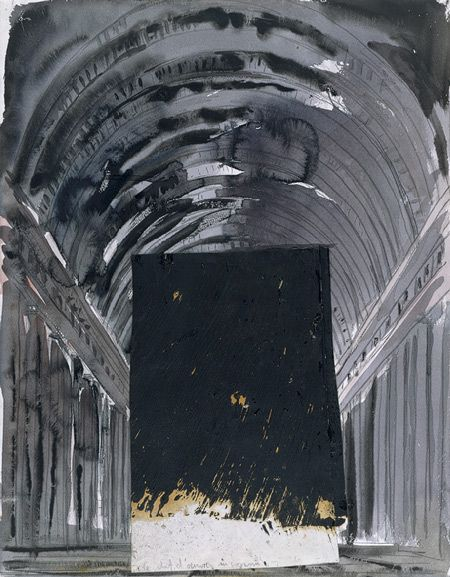 The Unknown Masterpiece, 1982 Anselm Kiefer (German, born 1945) Watercolor, gouache, graphite pencil, cut-and-pasted printed papers on paper
