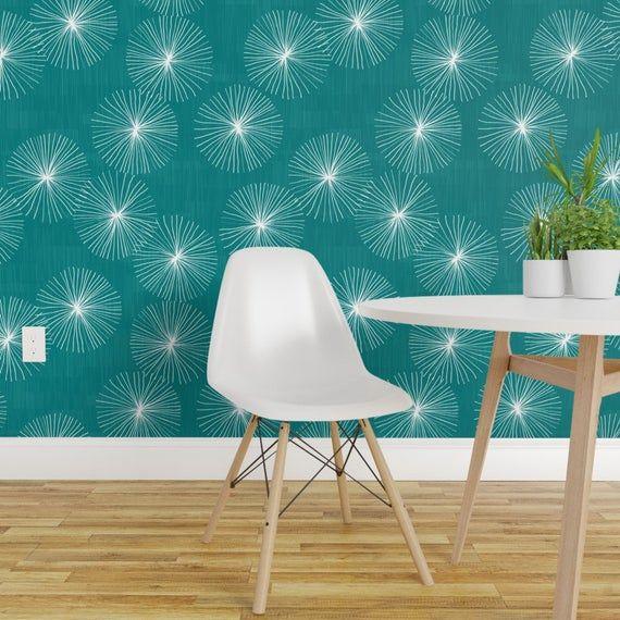 Mid Century Modern Wallpaper Dandelions Teal By Friztin Etsy Mid Century Modern Wallpaper Peel And Stick Wallpaper Wallpaper Panels