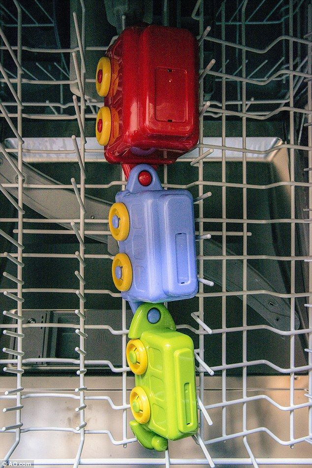 Run children's toys through the dishwasher to remove dirt and sanitise them