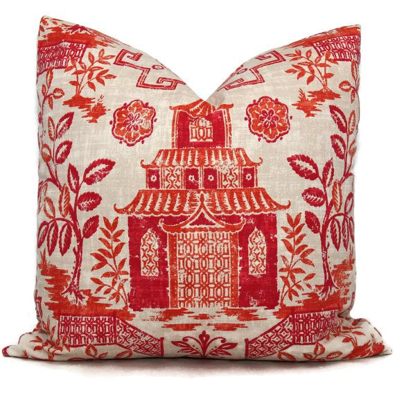 coral teahouse pagoda decorative pillow covers toss pillow accent pillow throw pillow