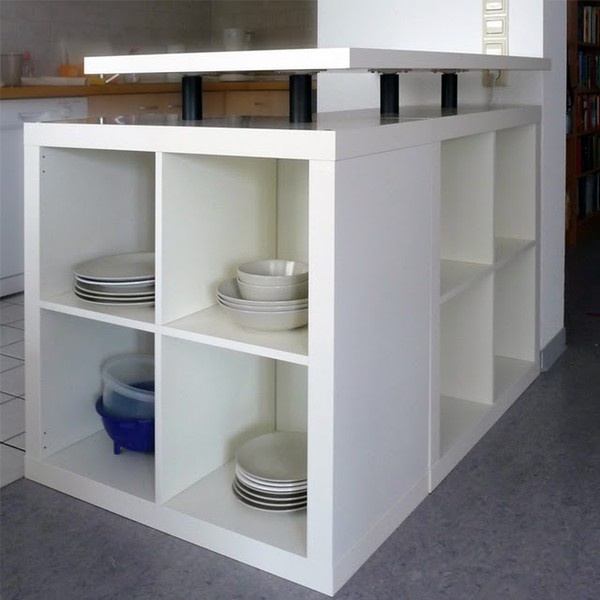 Cheap, brilliant kitchen island/bar diy-home