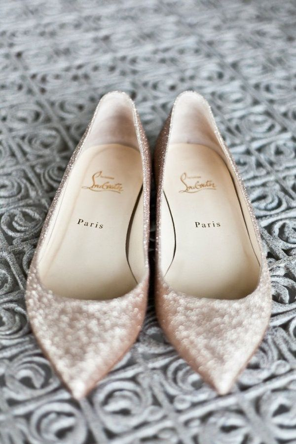 glittering gold sequined wedding flats