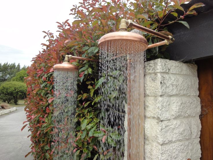 his and hers outdoor shower custom built to run on the garden hose. contact me on info@heritagebathware.co.nz for more info