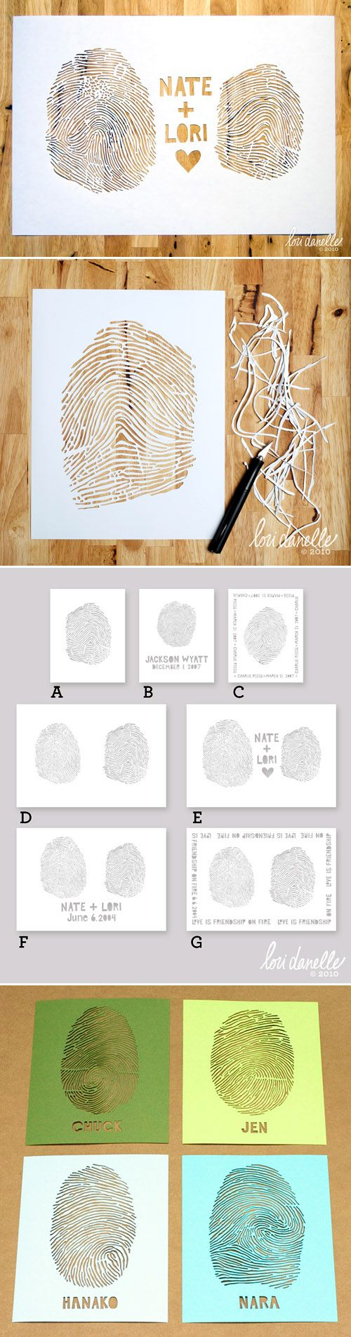 Custom cut fingerprint art pieces! So cool and such a great idea for married couples. :)