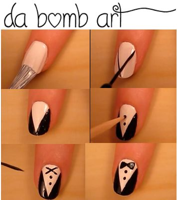 Start with a white base coat. Use a black striper or free hand to make a v shape then colour it in . make dots down the tux.   Paint to fat 'v' at the base of your nails. Round off the v's to make a bow ( you can use tooth pick if you do not have a striper).