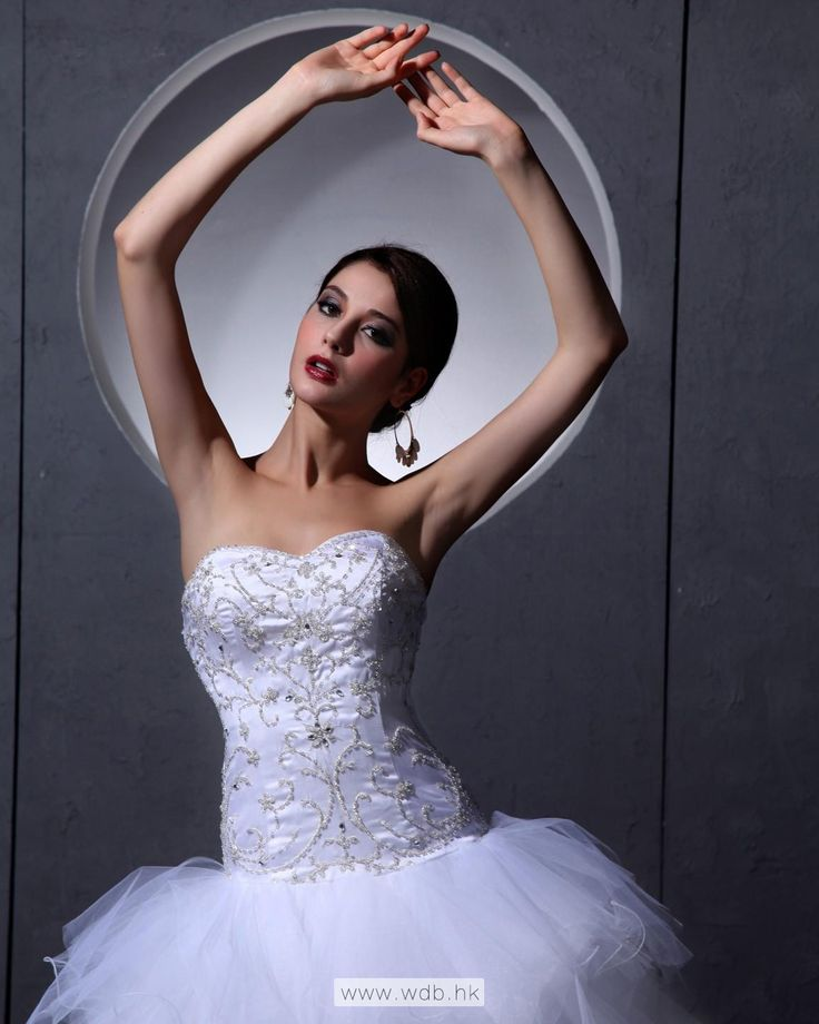 Satin Tulle Beading Floor Length Strapless Wedding Dress $393.98