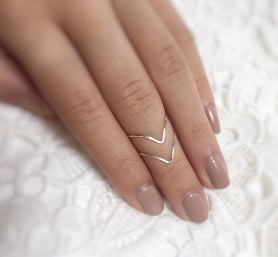 Gift - Midi Ring Set,Silver Chevron rings,Boho Jewelry,Chevron Ring set of 2,Stackable rings,adjustable Chevron,Unique Rings,knuckle rings