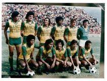 Deportes Quindío de los 80, en El Pulso del Fútbol Arriba (Izq-Der): Bermúdez, Romero, Balbuena, Ever González, Carpene y Oviedo. Abajo (Izq-Der): Lobatón, Vélez, Tamayo, Pichón Rodríguez y Wilfrido Vargas.