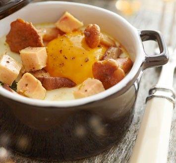 Œuf cocotte forestier et ses dés de foie gras
