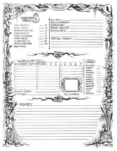 Old School Revival (OSR)** GP Adventures Character Record Sheet (O/AD&D Compatible)