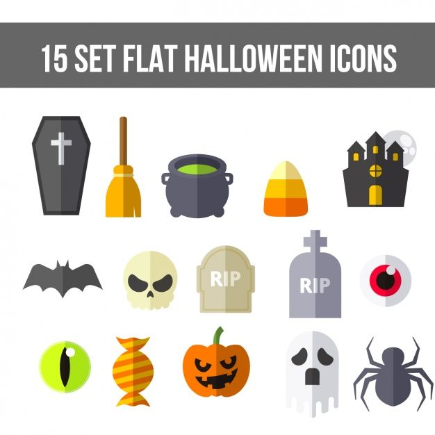 Flat halloween icons Free Vector