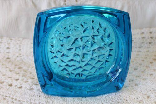Sklo Union Turquoise Hobnail Glass Ashtray/Dish Rudolf Jurnikl