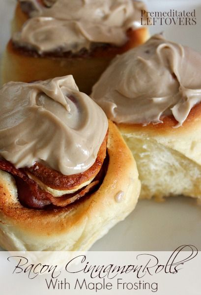 Maple Bacon Cinnamon Rolls with Cinnamon Icing - Cinnamon rolls with bacon in the middle of each roll! Can you say AMAZING!