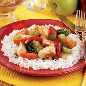 Honey Chicken Stir-Fry. Super easy! ...but if you're on the lazy side, like me, you can use Gourmet Warehouse Honey Garlic marinade. (simple shortcut for this same recipe)