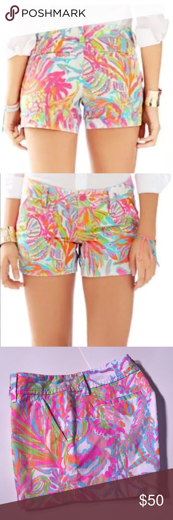Lilly pulitzer Callahan shorts Callahan shorts has flawless fit, The unique beach Twill fabric observes color and displays print beautifully. 5 inch inseam zip fly short with center front button closure. Belt loops slant front pockets and back welt pocket.                                         print in Scuba to Cuba 🇨🇺 size 2 EUC 💜💜Shop and feel good about it 😁. Part of the money u spend goes to Purple Heart Foundation Lilly Pulitzer Shorts