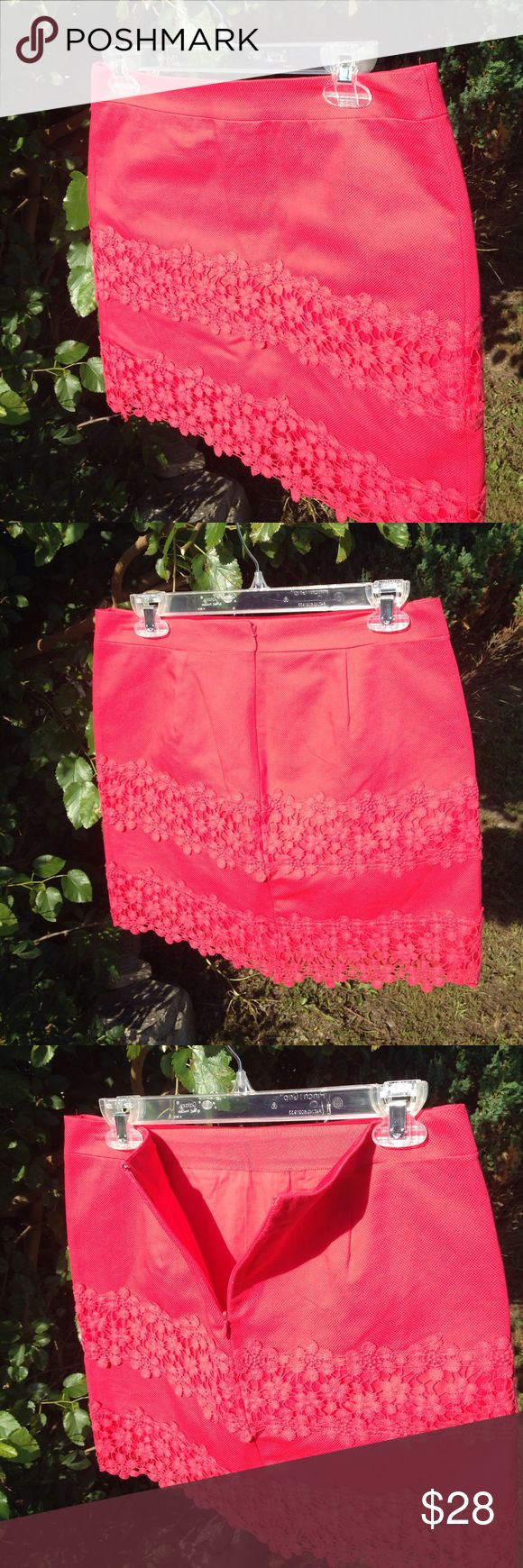 J.Crew lace size 4 watermelon 🍉 zip up mini skirt This size for J.Crew brand miniskirt is in new condition with tags. $98. Zips up the back and has lace detailing. 31 inch waist. 16 inches from the top of the waistline to the bottom of the skirt. Please see photos. Please ask any questions before purchasing. J. Crew Skirts Mini