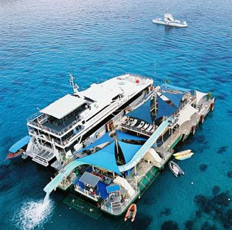 REEF CRUISE.  Enjoy plenty of activities from Morning/afternoon tea and snacks, International Buffet lunch, Snorkeling equipment and tours, 35 meters water slide, diving board, Unlimited banana boat rides.