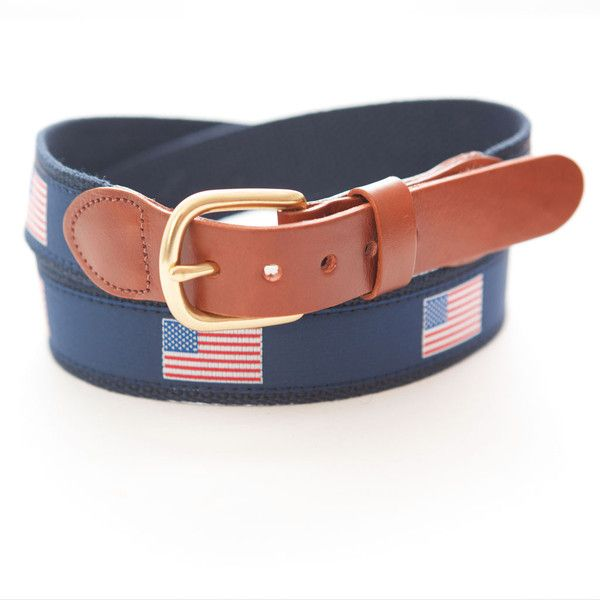 Smathers Branson American Flag Needlepoint Belt (533.160 IDR) ❤ liked on Polyvore featuring accessories, belts, round belt, american flag belt and red belt