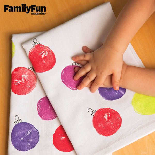 Prints Charming: Even young kids can help make this gift of holiday tea towels that family and friends will treasure for years.