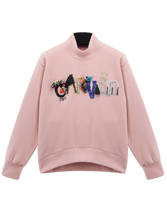 Pink High Neck Letters Embroidered Loose Sweatshirt - abaday.com