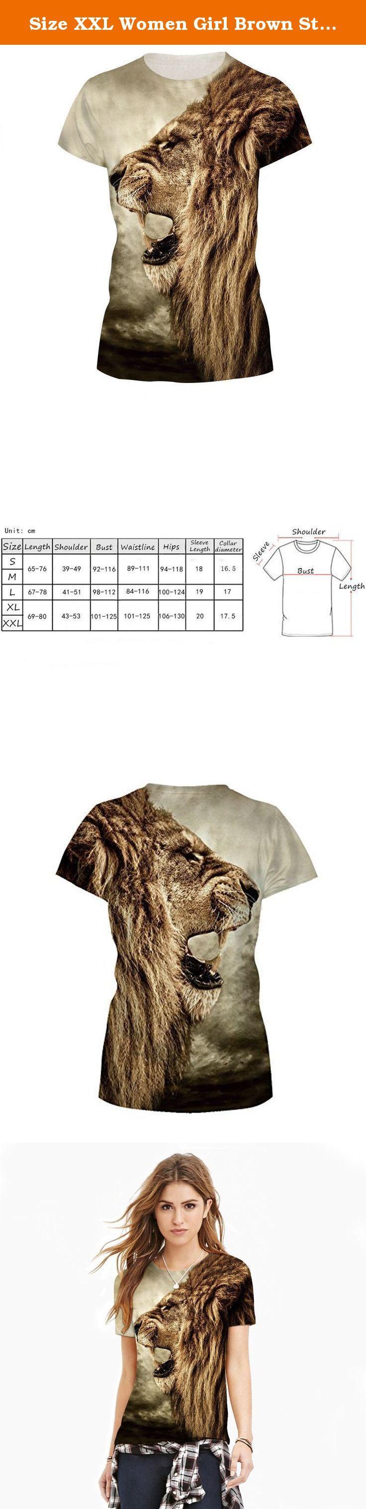 Size XXL Women Girl Brown Styish Tiger 3D Digital Printed T-shirt Harajuku Te. t-shirt.