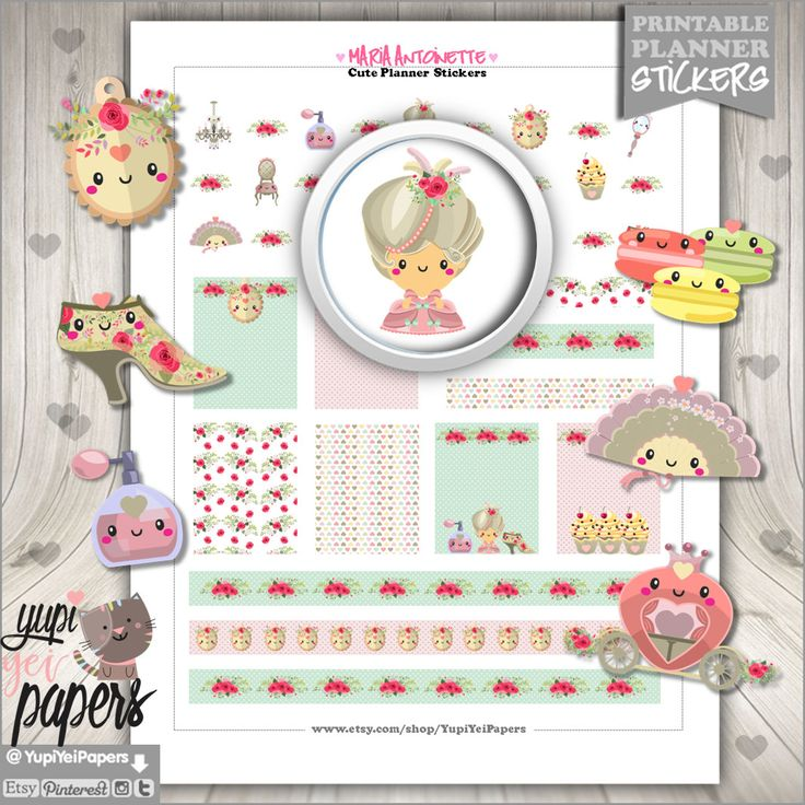 Marie Antoinette Stickers, Planner Stickers, Princess Stickers, Kawaii Stickers, Planner Accessories, Princess Party, Digital Stickers