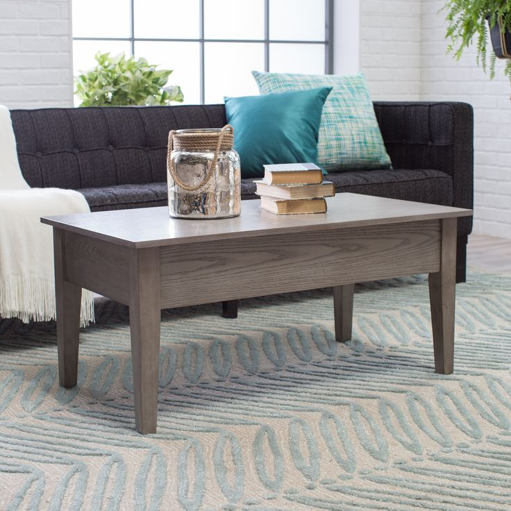 Turner Lift Top Coffee Table - Gray - Dimensions: 40W x 20D x 18H in., 28H fully extended Traditional lift-top coffee table in grayfinish Engineered wood construction with re...