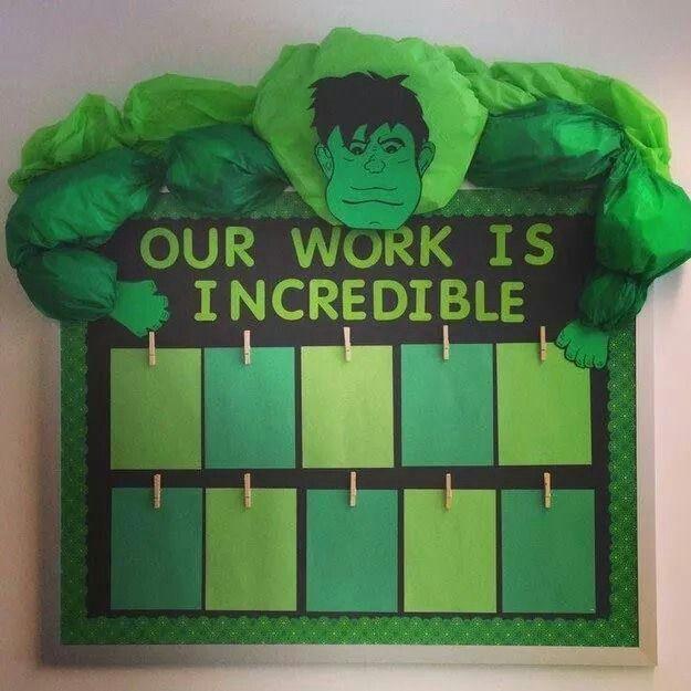 hulk bulletin board classroom our work is incredible