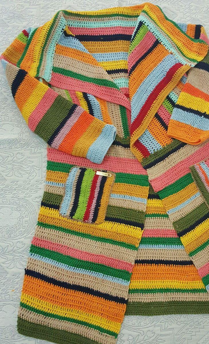 f020893ed Kimono   Casaco de Croche Manga Longa no Elo7