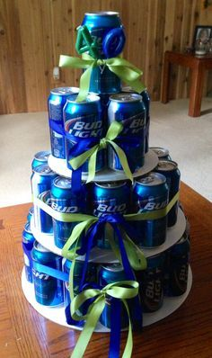My gift for the grooms men as they get ready. Beer Cake.  Thank-you Caitlynn