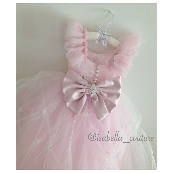 Miss Dior CAPRI DRESS by Isabella Couture - Flower Girl Dress - Girls Lace Dress - Pink Dress - Big Bow Dress - Wedding Dress