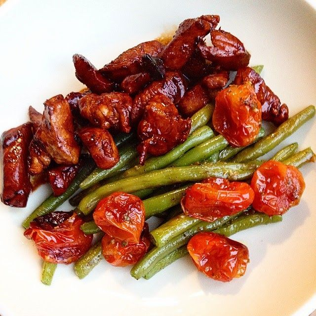 Kip in balsamico-sojasaus met boontjes. Evt ook met honing zie balsamico kip in honing salade