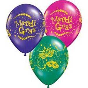 Q37205 - Mardi Gras Balloons. Pack of 10 28cm Mardi Gras Masks & Beads Assorted Quartz Purple, Emerald Green & Jewel Magenta Latex Balloon pack of 10. Please note: approx. 14 day delivery time.