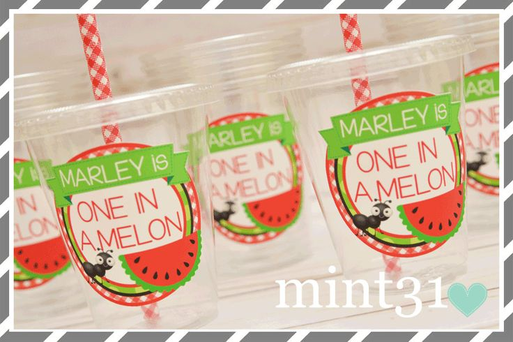 Set of 10 or 20-Watermelon Birthday Party Cups, Lids & Straws, Favor Cups by mint30one on Etsy