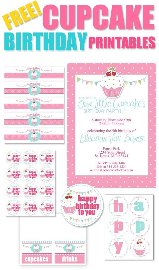 Cupcake Birthday Theme -  FREE CUPCAKE BIRTHDAY PRINTABLES!  Yay!