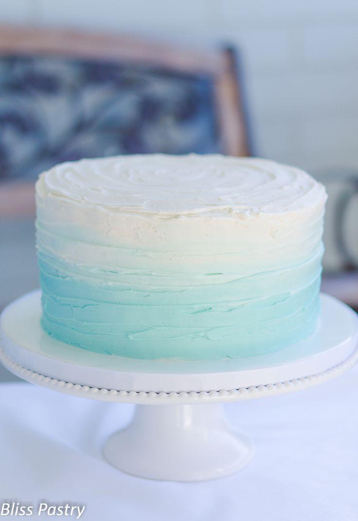 Ombre buttercream baby shower cake