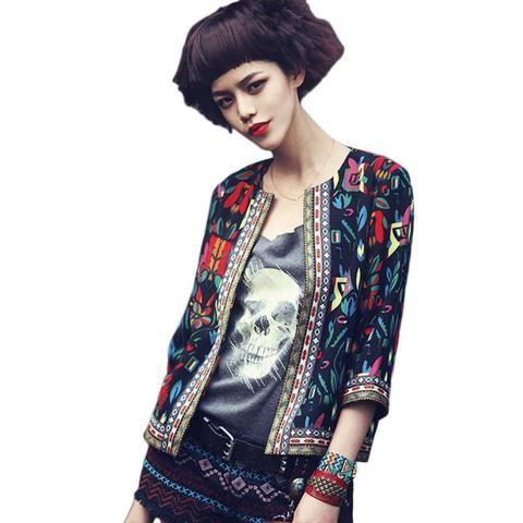 Slim Floral Print Jacket