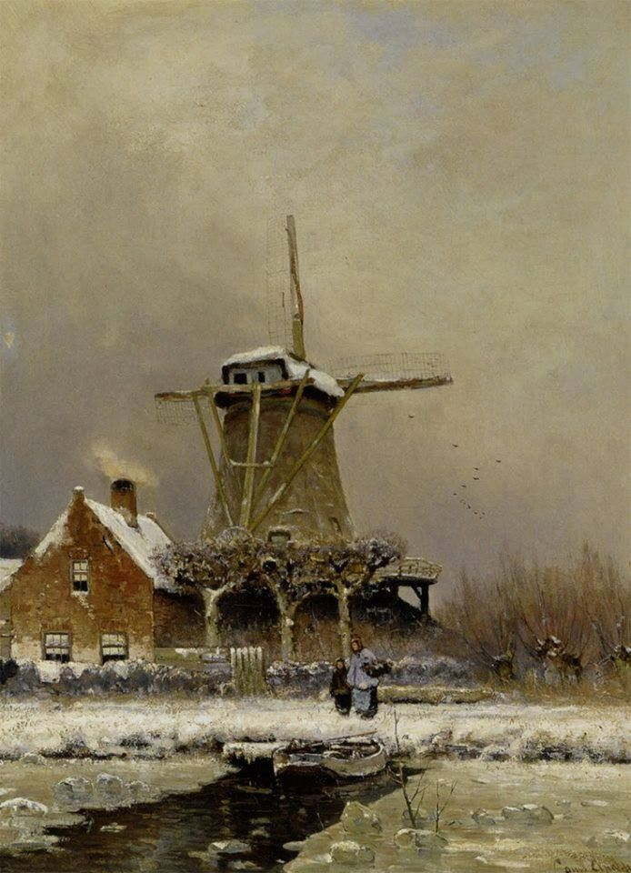 """https://www.facebook.com/MiaFeigelson """"Figures by a windmill in a snow covered landscape"""" By (Lodewijk Frederik Hendrik (Louis) Apol ) Louis Apol, from the Hague, Netherlands (1850 - 1936) - oil on canvas; 60.5 x 81 cm; 23.82 x 31.89 in - Private Collection"""